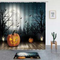 Shower Curtains Happy Halloween Pumpkin Wizard Cute Cartoon Set Rug Bathroom Screen Background Decor Bath Mats Entrance Door Mat