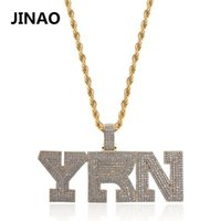 Pendant Necklaces Fashion Name Cubic Zircon Iced Out Chain Necklace YRN Design Letter Hip Hop Jewelry Statement Bling Gift