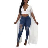 Women's Blouses & Shirts Sexy Deep V-Neck White Blouse For Women High Street 2021 Split Long Sleeve Slim Ladies Chiffon Tops Fashion Blusas