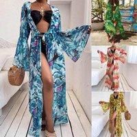 Beach Cover Up Dress Long Bikinis Ups Women Summer Loose Print Lantern Sleeves Big Swing Lace-Up Cardigan Women's Swimwear