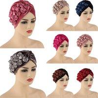 Women Flowers Ruffle Turban Caps Muslim Elastic Headscarf Bonnet Velour Ladies Hair Accessories Indian Cap Turbante Arab Fashion