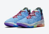 Lebrons 18 University Blue Metallic Gold Gold Multi Color Scarpe con scatola di alta qualità 18s Uomini Sneakers da basket Street Sport Shoe Trainners