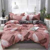 Bedding Sets Nordic Set Leaf Printed Bed Linen Sheet Plaid Duvet Cover Single Double Queen King Quilt Covers Cartoon Bedclothes