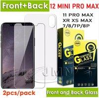 حامي شاشة الهاتف الأمامي والخلف من الزجاج المقسى لآيفون 12 ميني 11 برو ماكس XR XS X 8 7 زائد 2PCS فيلم في حزمة البيع بالتجزئة واحدة