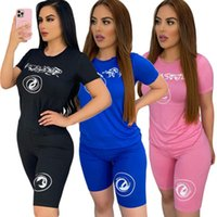 3 Colors Tracksuits Summer Solid Color Letter Printing Short-sleeved Shorts 2-piece Set