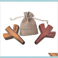 Pipes Smoking Accessories Household Sundries Home Garden Stoner Trident Wooden Joint Double Twin Triple Level Five Barrel Wood Cigaret