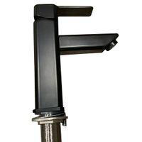 Siyah Şelale Borulu Banyo Bataryası, Tek Kolu, Güverte Plakalı, Mat Siyah, 1 veya 3 Delikli RV Lavabo Gemi