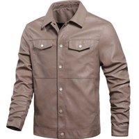 Erkek yelek deri ceketler ilkbahar sonbahar ince stil ceket cebi geri dönüş yaka motosiklet erkekler giyim jaquetas my494