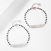 Charm Bracelets Black Bead Chain Rose Gold Silverly Crystal Heart AMORE FAMILY LettersTrendy Bracelet For Woman Fashion Jewelry Gifts