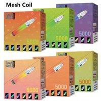 메쉬 코일 Randm Dazzle 일회용 전자 담배 5000 퍼프 6 % 10ml 사전 채워진 포드 650mAh 재충전 배터리 RGB 빛 14 색 vape 펜 장치 거대한 증기