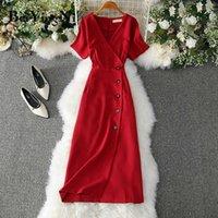 Beiyingni escritório senhoras vestido elegante botons Casual magro vintage romance festa mulheres vestido vermelho rosa amarelo vestidos mujer y0603