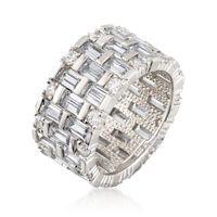 Marca de cóctel Anillos de bodas Spakrling Luxury Jewery 925 Sterling Silver Princess Cut White Topaz CZ Diamond Gemstones Eternity Mujer Compromiso Banda Ring Regalo