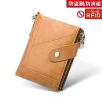 Shoulder Handbag DC Double Zipper Buckle Cowhide Mens Wallet Anti-Theft Swiping Genuine Leather Retro First Layer Cowhide Mens Bag Leisure C