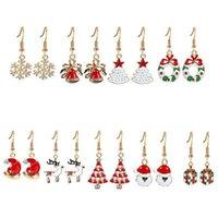 1set 9 paires de bijoux de Noël pour femmes mode mignon Santa Claus Snowman Tree Bell Boucle d'oreille Femme Cadeaux Dangle lustre