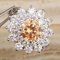 Wedding Rings Outstanding Orange Champagne Zircon Gems Morganite Silver Plated Argent Solitaire Ring Size 6   7 8 9 S1348