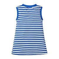 فساتين الفتيات الفتيات البحرية الصيف الأطفال بلا أكمام القطن متوسط طول t- شريط تنورة