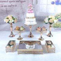 Other Bakeware 8PCS Gold Silver Mirror Metal Cake Stand Round Wedding Birthday Party Dessert Cupcake Pedestal Display Plate Home Decor