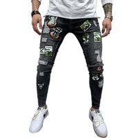 Men's Pants Calça jeans em 2 estilos-flexível, rasgada, skinny, com bordado., de alta qualidade, estilo biker, rasgado, buracos, slim fit, G6HM