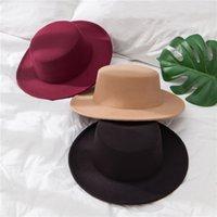 Solid Color Felt Fedoras Hat for Men Women artificial wool Blend Jazz Cap Wide Brim Simple Church Derby Flat Top Hat 2875 Q2