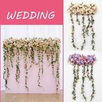 1.8M 2Type Artificial Flower Row With Wisteria DIY Wedding Decor Arch T-road Lead Background Wall Studio Window Props Decorative Flowers & W