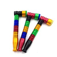Colorful Metal Smoking Pipe With Cover Detachable Tobacco Cigarette Hand Filter Pipes multiple colors 2 Styles Tool Accessories