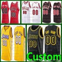 Custom Dennis 17 Schroder كرة السلة الفانيلة Marc 14 Gasol Los Angelesليكرز2021 الثيرانزاخ لافين لوري مارككانين كرة السلة