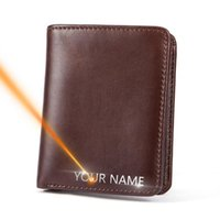 Wallets 2021 Men Name Engraving Genuine Leather Short Money Clip Casual Male Purses Vintage High Quality Brand
