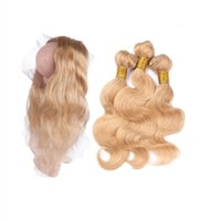 PROUCKED 360 Кружевной полосы Frontal с 27 Пакета волос Волны для тела 4 Шт. / Лот Virgin Blonde # 613 Пакеты волос с 360 Frontal