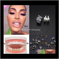Grillz, Body Jewelry Jewelrygold & White Iced Out A-Z Custom Letter Grillz Full Diamond Diy Fang Grills Cosplay Tooth Cap Hip Hop Dental Mout