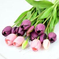 Guirnaldas de flores decorativas 5 unids / manojo tulipanes artificiales Ramo de silicona real táctil Falso para el hogar Jardín Sala de estar Decoración de la boda PA