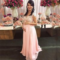 2021 pink Maternity cap sleeves Prom Dresses v neck Empire Pregnant Lace Beaded Sash Bow Plus Size Evening Party Gowns Chiffon
