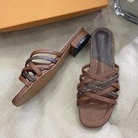 여성 디자이너 IV 인쇄 슬라이드 슬라이퍼 파리 빈티지 정품 가죽 뜨개질 편평한 뒤꿈치 scuffs 슬리퍼 리본 짠 여자 샌들 Luxurys 디자이너 신발