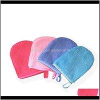 Brosses de bain Eponges Eponges 6 couleurs Microfibre réutilisable nettoyage de la faciale de nettoyage de gants de gant de maquillage de maquillage de maquillage gants outil de soins de beauté W Zckyi
