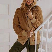 Women's Wool & Blends Winter Lamb Fleece Jacket Streetwear Women Single Breasted With Pocket Thick Coats Jackets Casual Loose Autumn Coat 20