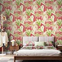 Wallpapers Northern European-Style Green Plant Japanese Banana Leaf Wallpaper Modern Minimalist Fashion Light Living Room Bedroom