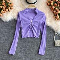 Women's T-Shirt Woman Tshirts Sexy T Shirt For Womens Cardigan Long Sleeves Women Tops Solid Color 2021 Fashion Clothing Top