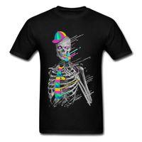 CCCCSPORTHIP HOP GEEK TSHIRT PARA HOMBRES 2018 Último diseño Dulce de fusión Skullon Skull 3D Black Print T Shirt Psychedélico Skull Band Tops Tops