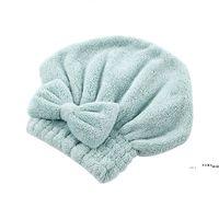 Chapeaux de cheveux secs rapides Chapeaux de serviette enroulée Salle de bain Casquettes Microfibre Bow Femmes Femmes Girls Lady Cap FWe10230