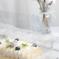 Boîte d'emballage de rouleau de gâteau transparent avec poignée cacturée de gâteau de fromage en plastique claire écologique cuisson Swiss Roll1 1277 V2