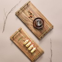 Dishes & Plates Wooden Bamboo Serving Tray Tea Cup Saucer Trays Fruit Plate Storage Pallet Decoration Japanese Rectangular