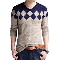 Browon осень старинные рождественские рождественские мода V-образным вырезом повседневные тонкие свитера мужчины для бизнеса
