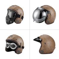 Open Face 3 4 Vintage Retro Motorcycle Casco Moto PU Leather Motorbike Helm Motocross Helmets Personalized With For Men Women