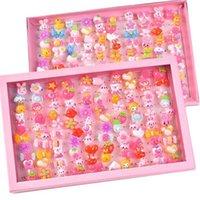 10pcs lot Children's Cartoon Rings Candy Flower Animal Bow Shape Ring Set Mix Finger Jewellery Rings Kid Girls Toys H1011