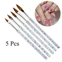 Nail Brushes 5Pcs Art Brush Tools Set Crystal Handle Acrylic UV Gel Carving Glitter Pen Acrylic&Nylon Hair