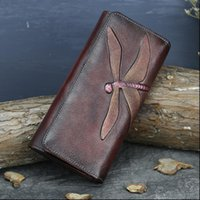 High Quality Genuine Leather Women Clutch Purse ID Credit Card Cash Holder Dragonfly Pattern Retro Cowhide Money Long Wallets