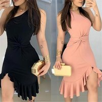 Est Women Girl One Shoulder Asymmetric Hem Dress Office Lady Irregular Ruffled Mini Dresses Vestidos For Evening Party Casual