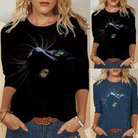 Женская футболка Весна Осень Топы Повседневная Пулловеры Одежда Смешные Милые Cat 3D Печать Длинные Рукавы Дамы Мода