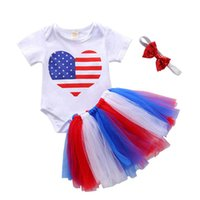 Pudcoco 3Pcs Summer Baby Girls Infant Toddler Kids Heart Pattern Print Button Striped Independence Day Bodysuit+Skirt+Headwear Clothing Sets