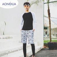 Trajes de una pieza Aonihua Manga larga Traje de baño Dos piezas Negro Blanco Color Swim Wead Carton Shorts Deporte para adolescentes