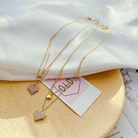 Einfaches Temperament, doppelte Edelstahl-Halskette, kreatives Design, Liebe, Diamant Inlaid Clavicle-Kette